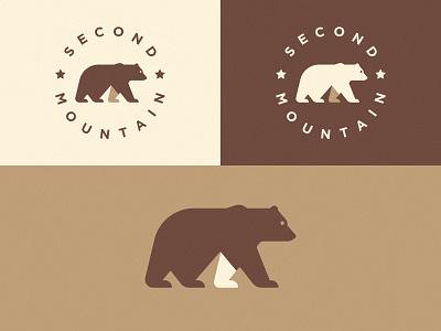 Logo for Second Mountain Version 1 design negative space mark symbol logo bear mountain