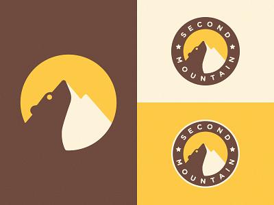 Logo for Second Mountain Final Version ui beadge design illustration vector negative space mark logo symbol sun bear mountain