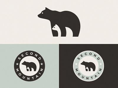 Logo for Second Mountain Final Version 2 beadge ui design illustration vector mountain bear symbol logo mark negative space bears