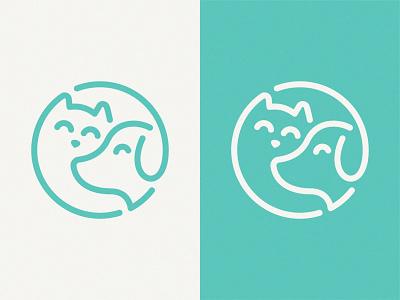 Cat & Puppy branding design illustration line mark symbol logo puppy cat