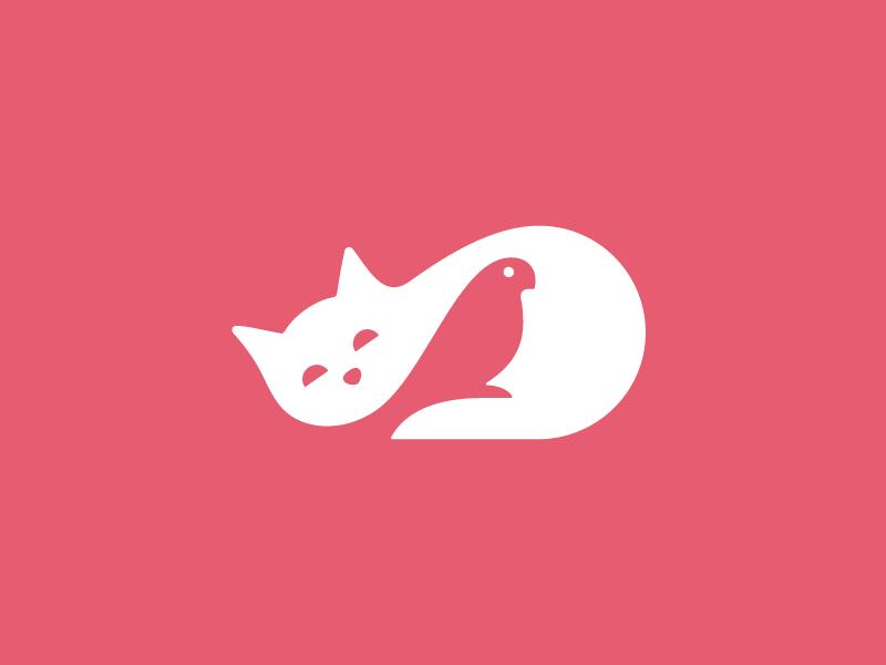 Cat & Parrot mark negative space parrot cat symbol logo