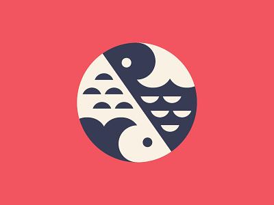 S + Sushi + Yin & Yang food negative space fish yang yin sushi symbol logo