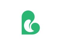 B for Botanic negative space mark logo symbol leaf botanic b