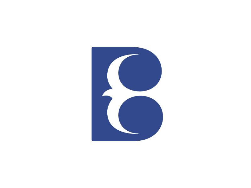 B + Bird negative space bird symbol logo b