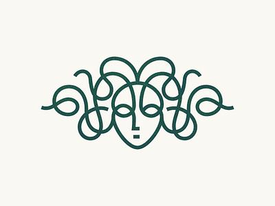 Gorgon gorgon medusa face line mark logo symbol