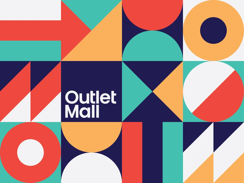 Outlet Mall circle square triangle om abstract arrow geometric pattern branding mall outlet