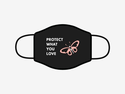 Protect what you love covid-19 butterfly illustrator maskchallenge mask design vector typography illustration awesomemerch