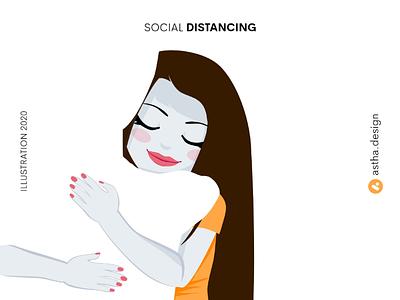 Social Distancing orange yellow white space adobe lockdown social distancing art illustration