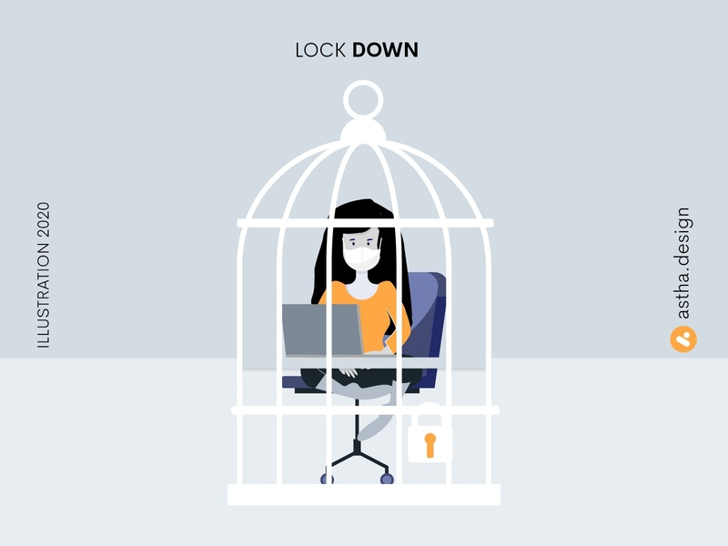 Lock Down work from home quarantine life lockdown adobe xd photoshop vector art typography illustration design