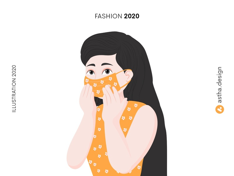 Fashion 2020 love illustration couple portrait character design lockdown quarantine life mask fashion flowers orange yellow quick illustration design vector art typography illustration