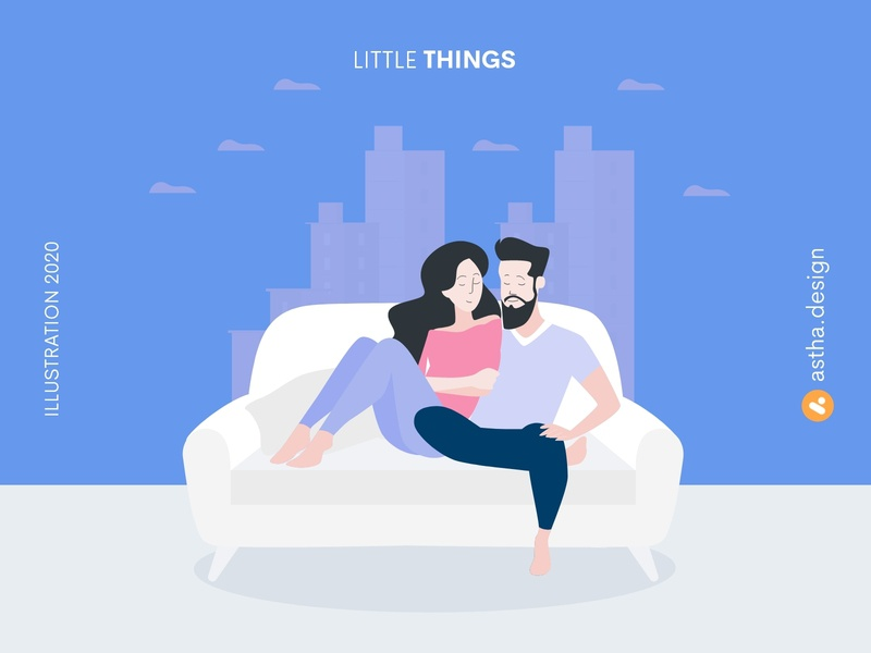 Little Things little things couples quick illustration lockdown quarantine life love illustration couple vector art typography illustration design