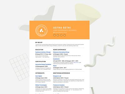 Curriculum Vitae - UX Design resume canva interactiondesign productdesign layoutdesign visualdesign ui ux cv resume cv