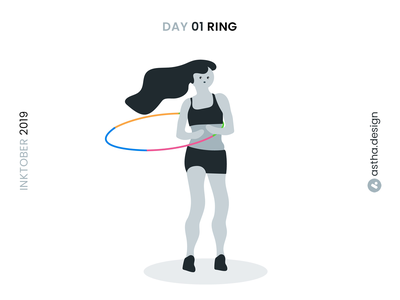 Inktober Day 01 Ring dance fitness girl illustration girl typography vector design ink adobe aftereffects aftereffects blackandwhite hula hoop hoop animation ring illustration illustrations inktober2019 inktober