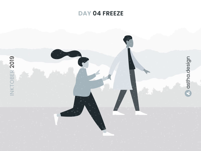 Inktober Day 04 Freeze adobeaftereffects aftereffects day4 freeze snow love ink art inktober2019 inktober typography vector user interface animation adobe xd illustration animation design