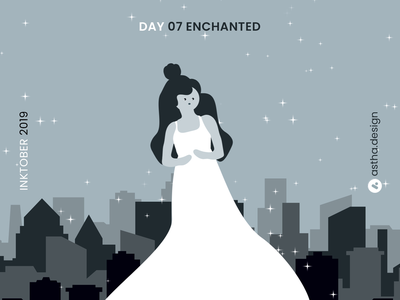 Inktober Day 07 Enchanted inktober2019 inktober star transitions illustrations movie enchanted stars blackandwhite after effects inking ink art aftereffects adobe xd logo typography illustration animation design