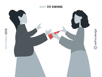 Inktober Day 09 Swing swing inktober2019 inktober red chinese fan chinese culture japanese art fanart dance bollywood vector typography art user interface animation adobexd photoshop adobe xd illustration animation design