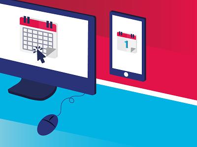 Online calendar - Illustration calendrier ordinateur blue red mobile desk phone computer illustration online appointment calendar