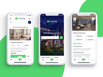 Homing - Real Estate Browser simple user interface ios ui ux real estate modern minimalist clean