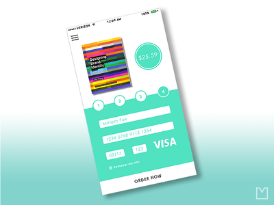 Checkout Screen- Credit Card Info screen mobile interface checkout ui