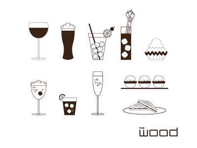The Wood Menu Icons restaurant food iconography illustration vector icons