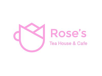 Rose's Tea House Logo identity branding illustrator pink cafe rose logo vector