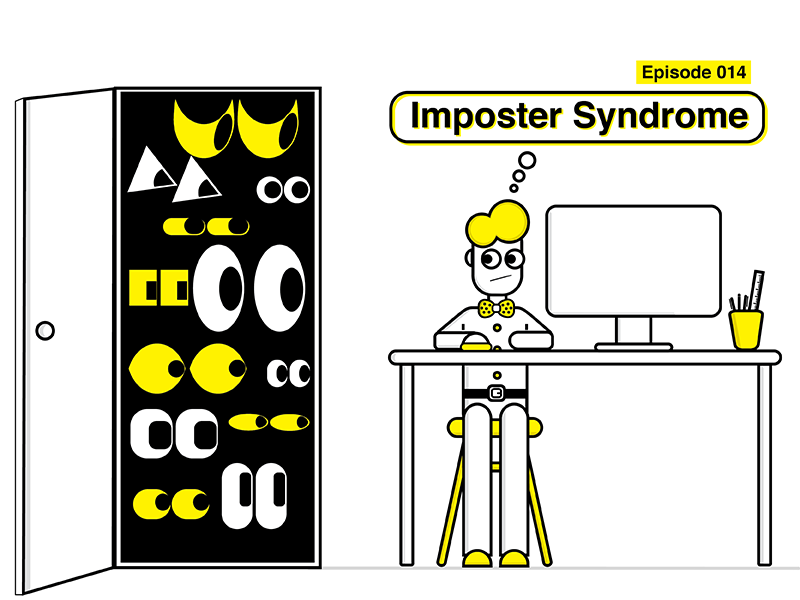 Imposter Syndrome Illustration: Creative Honey Podcast character outline minimalist yellow black graphics design illustration