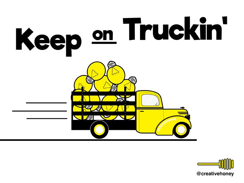 Keep On Truckin illustration graphic design design truck yellow illustrator vector