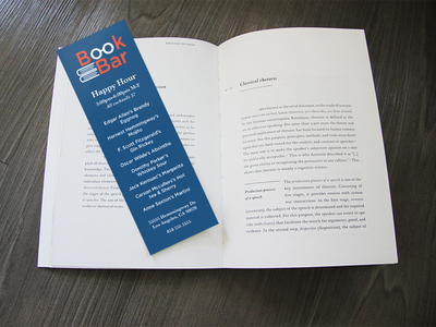 Book Bar Bookmark Menu bookmark visual identity logo branding orange blue bar restaurant menu illustrator graphic design print