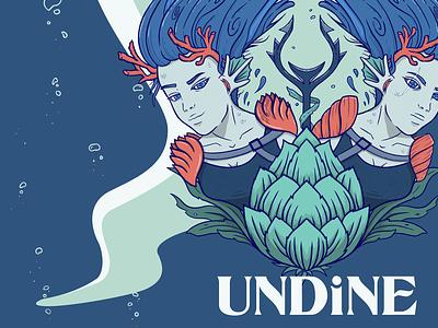 Undine Spot Illustration procreate beer siren mermaid type design typography illustration