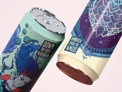 "Down The Road ""Undine & Dream Time"" art direction cans beer label beer art beer beer can identity illustration branding"