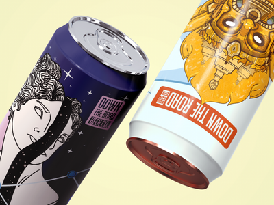 Seventh Star & Golden City Preview identity brewery beercan beer type illustration typography design branding