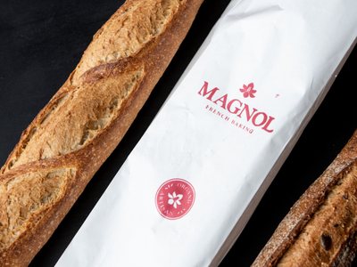 Magnol Logo Stamped wordmark fancy bread bakery logo type identity typography design brand branding