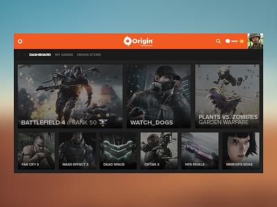 Origin Concept - Dashboard battlefield battlelog pc dashboard games ea origin graphic ratio