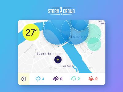 Storm Crowd UI storm location graph radius temperature map concept ui app weather