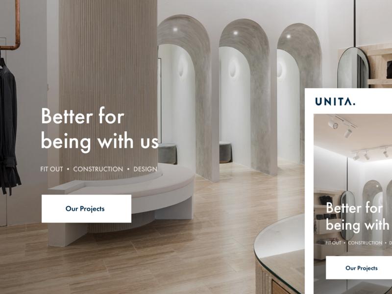 Unita Homepage architecture homepage design typography web ui