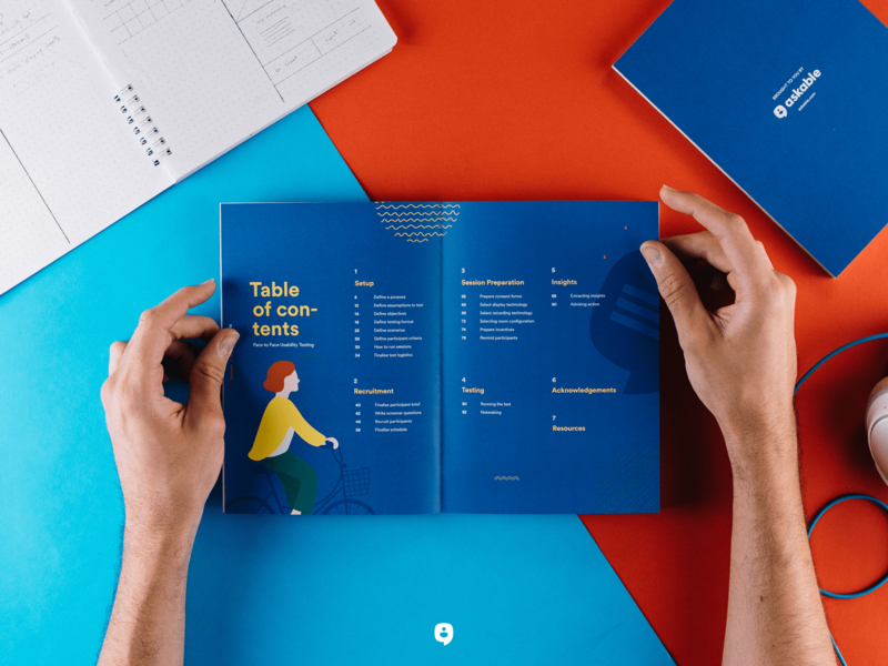 Askable's Face to Face Usability Testing askable die cut table of contents guide print paper layout design editorial layout booklet book