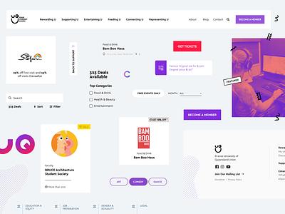UQU cards design layout web typography ui