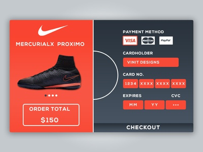 Daily UI Credit Card Checkout cleats football soccer shop checkout credit card challenge ux ui daily