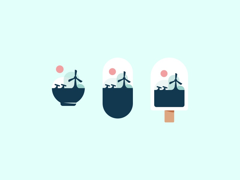 Surreal Icons ice bowl pill capsule organic icon portfolio modern experiment personal vector dualism power turbine food icons