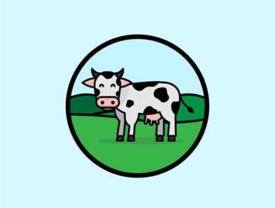 cow logo app concept color icon flat design illustration vector