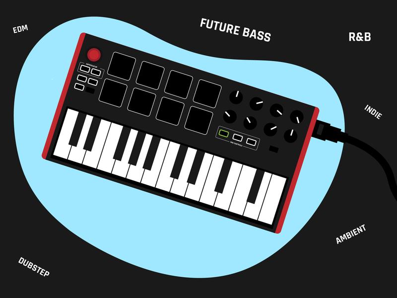 Midi keyboard type music album midi music artwork web icon design vector red color illustration first shot dribbble music art music app midi keyboard