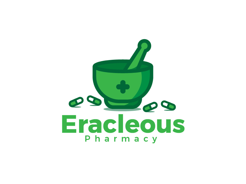 pharmacy pills mortar and pestle logo design