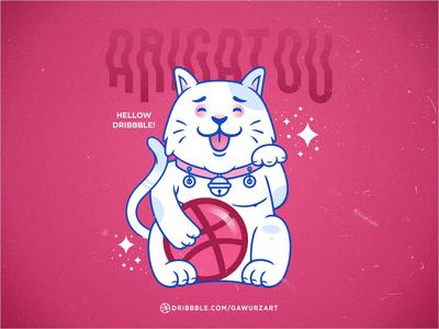 Arigatou! Hellow Dribbble dribbble invitation first shot hello dribbble indonesia illustration logo flat ball vector invitation hello cat