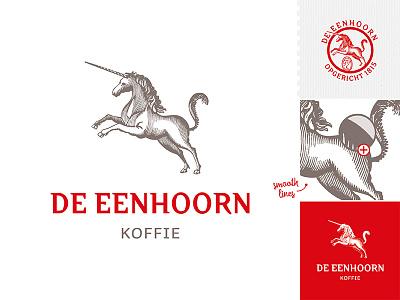 De Eenhoorn - Koffie coffee koffie 1815 design graphic unicorn eenhoorn restyle logo