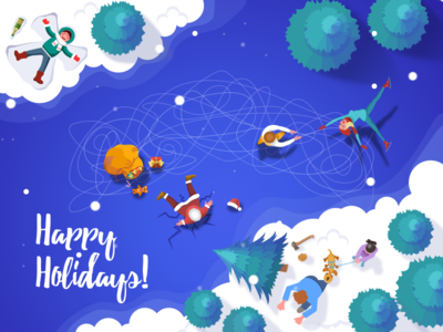 Happy Holidays happy logo people dog presents tree new year christmas snow santa card