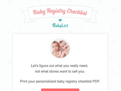 Baby Registry Checklist baby registry feminine ui design babies light blue quiz ui interface