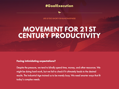 #GoalExecution landing page sketch design website web design ui ui design red bold bright typography site