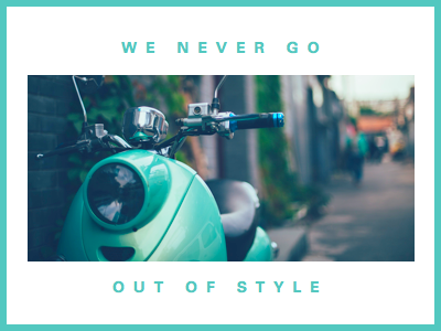 Out of Style typography layout teal blue photo border