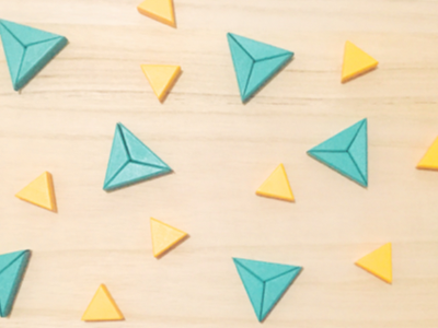Dual Color Triangles wood wooden blocks yellow teal blue pattern art design shapes