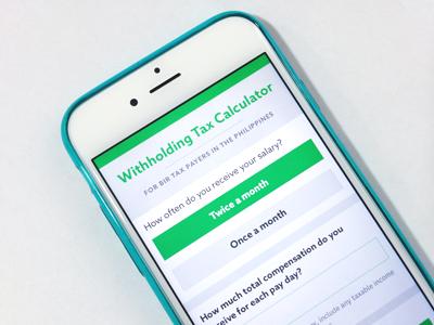 Tax Calculator Interface Design calculator interface design web app green form typography